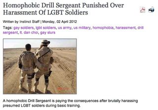 Homophobic Drill Sergeant Punished Over Harassment Of LGBT Soldiers